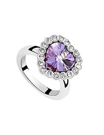 Budget Violet Purple Rings Alloy Crystal Rings