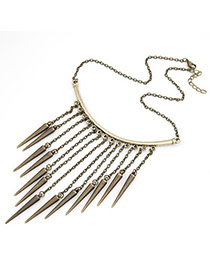 Diy Bronze Rivet Tassels Alloy Bib Necklaces