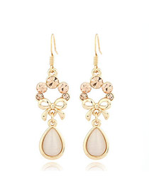 Evil beige White Water Drop Shape Decorated With Cz Dimaond Alloy Korean Earrings