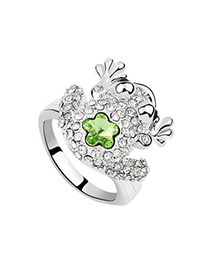 Oval olive Green Rings Alloy Crystal Rings