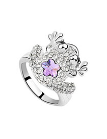 Shade Violet Purple Rings Alloy Crystal Rings
