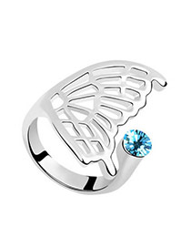 Fine sea blue Blue Rings Alloy Crystal Rings