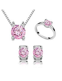 22K Pink Zircon Necklace Studs Earring Ring Jewelry Set Alloy Crystal Sets