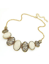 Bridesmaid White Hollow Out Oval Pendant Alloy Bib Necklaces