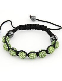Dancing Green Ball Shape Weave Braided Rope Fashion Bracelets