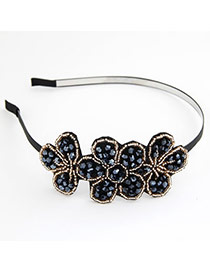 Huge Blue Sweet Fashion Handmade Flower Bead Alloy Hair band hair hoop