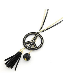 Lariat Black Peace Sign Pendant