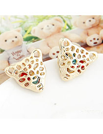Uniqe Gold Color Hollow Out Leopard Head Shape Alloy Stud Earrings