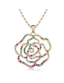 Elegant Champaign Gold Multicolour Rose Design Crystal Crystal Necklaces