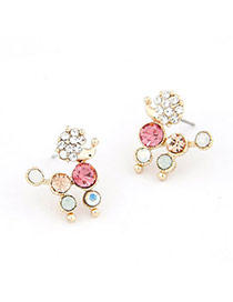 Royal Multicolour Dog Decorated With Cz Diamond Alloy Stud Earrings