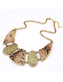 2013 Bronze Snake Skin Pattern Alloy Bib Necklaces