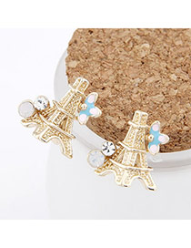 Luxury Gold Color Sweet Tower Design Alloy Stud Earrings