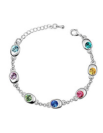 Simple Multicolour Bracelet Alloy Crystal Bracelets