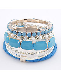 Fingerprin Blue Square Shape Alloy Korean Fashion Bracelet