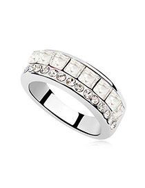 Heavy white Luxury Simple Desig alloy Crystal Rings