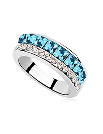 Costume sea blue Blue Rings Alloy Crystal Rings