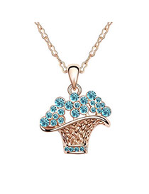 Beautiful sea Blue Flower Basket Crystal Crystal Necklaces
