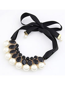 18K White Imitate Pearl Fake Collar Pearl Bib Necklaces