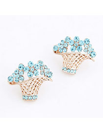 Bridal Blue Flower Basket Decorated With Cz Diamond Alloy Stud Earrings