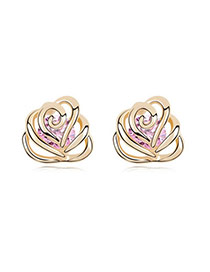 Art Pink Earrings Alloy Crystal Earrings