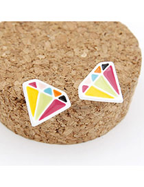 Chiropract Multicolour Diamond Shape Alloy Stud Earrings