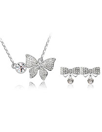 Masculine White Set-Butterfly Alloy Crystal Sets