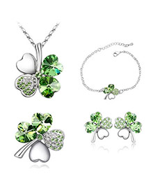 Fashion Olive Set-Sweet Clover Alloy Crystal Sets