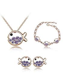 Travel Purple Set-Fish Princess Alloy Crystal Sets