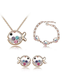 Christenin Multicolour Set-Fish Princess Alloy Crystal Sets