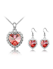 Embossed Padparadscha Set-Life Together Alloy Crystal Sets