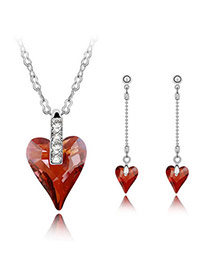 Used Red Set-Well Content Alloy Crystal Sets