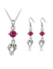 Memorable Purplish Red Dolphin Alloy Crystal Sets