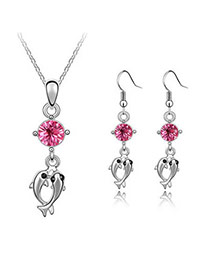 Daisy Plum Red Set-Double Dolphin Alloy Crystal Sets