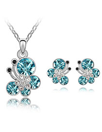 Newborn Sea Blue Set-Butterfly Dancing Alloy Crystal Sets