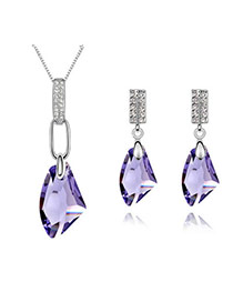 Royal pale pinkish purple Set-Bright Moon Breeze Alloy Crystal Sets