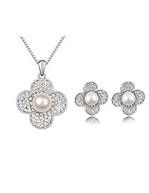 22K White Set-Waterflower Alloy Crystal Sets