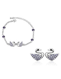 Mint pale pinkish purple Set-Swan Alloy Crystal Sets