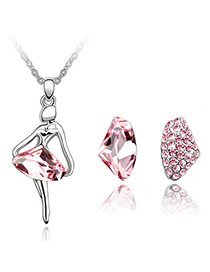 Authentic Plum Red Set-Dancing Queen Alloy Crystal Sets