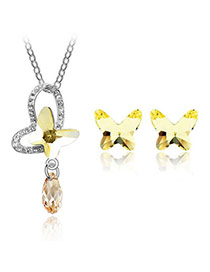Preppy Yellow Set-Rain Butterfly Alloy Crystal Sets