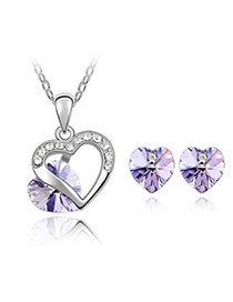 Collar Violet Set-Heart Appointment Alloy Crystal Sets