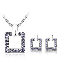Mexican pale pinkish purple Set-Square Alloy Crystal Sets