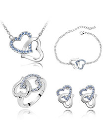 Rolling Light Blue Set-Heart To Heart Alloy Crystal Sets