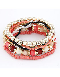 Wool Pink Color Matching Bead Korean Fashion Bracelet