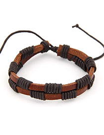 Luxurious Brown Double Layer Design PU Korean Fashion Bracelet