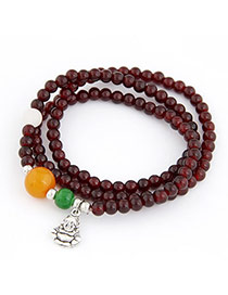 Native Beige Multilayer Buddha Pendant Bead Korean Fashion Bracelet