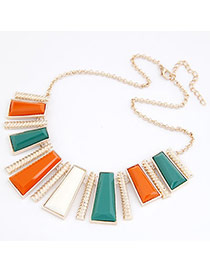 Athena Multicolour Geometry Vertical Bar Pendant Alloy Bib Necklaces