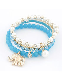 Flip Blue Cute Elephant Pendant Bead Korean Fashion Bracelet