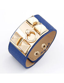 Aamazing Blue Square Rivet PU Korean Fashion Bracelet