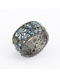 Velvet Black Daisy Alloy Korean Rings