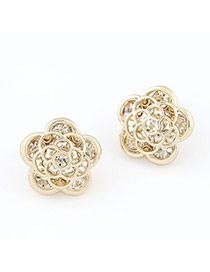 Western Gold Color Country Style Rose Charm Alloy Stud Earrings